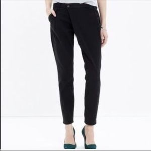 Madewell Pleated Drop Crotch Black Slim Trousers
